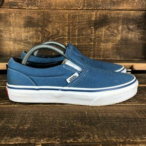 Vans Unisex Kids Blue Slip On Skate Shoes Size 3
